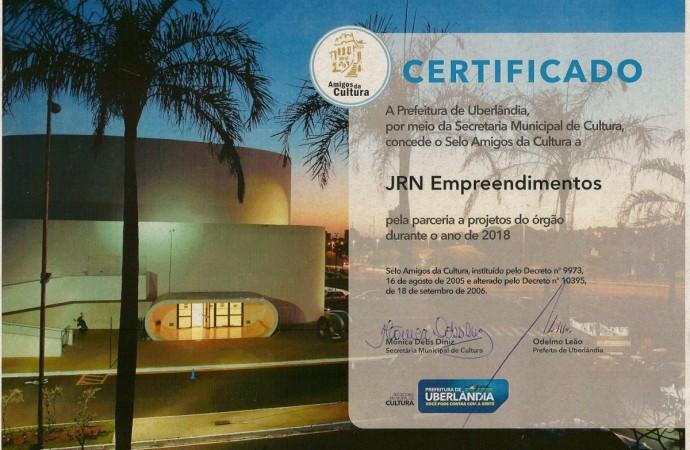 JRN Empreendimentos recebe Selo Amigos da Cultura em Uberlândia